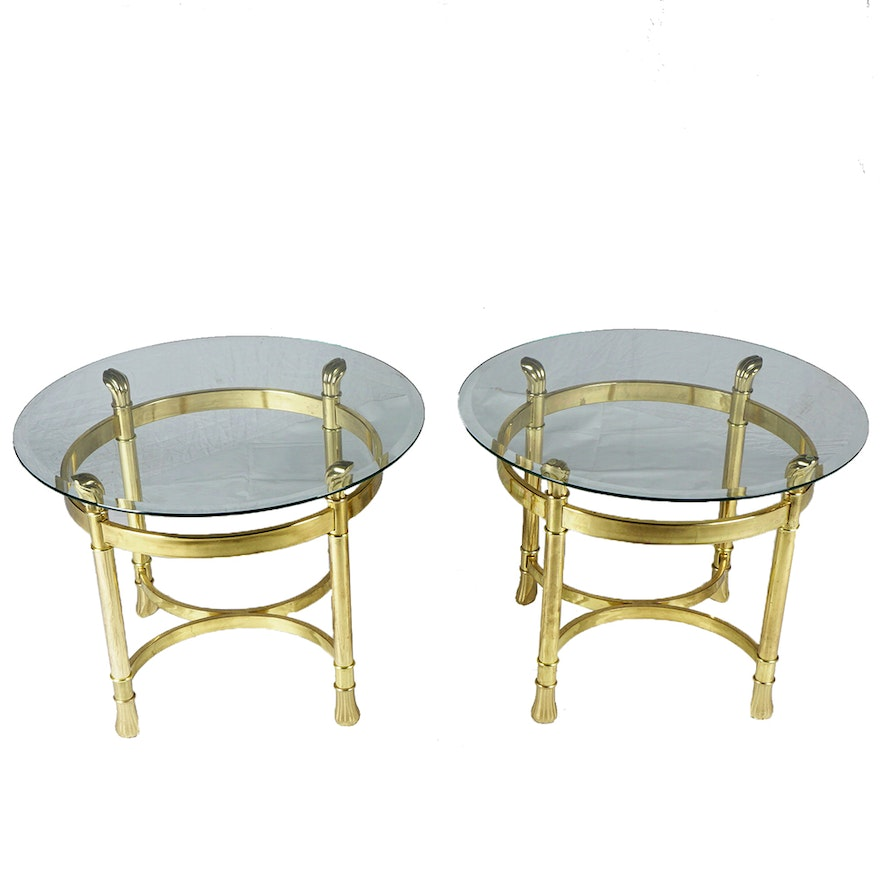 Pair Of Bevel Glass Top Brass End Tables Ebth