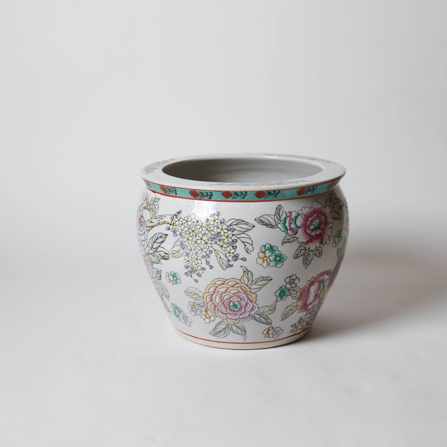 Large Ceramic Planter With Floral And Fish Designs Ebth