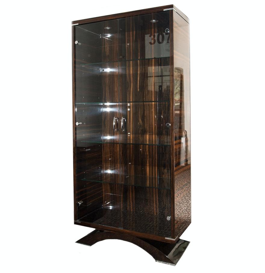 Zebra Wood And Glass China Cabinet Ebth