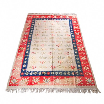 Signed, Handwoven Flat Weave Romanian Area Rug