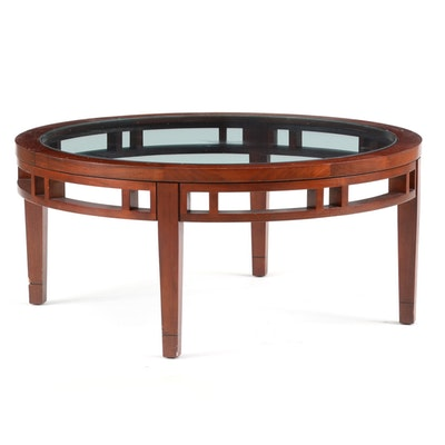 Cherry Stained Round Coffee Table Ebth