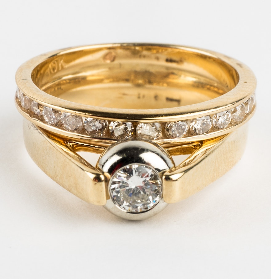 Soldered 14k Gold Engagement Ring And 10k Gold Wedding Band Set With  Diamonds