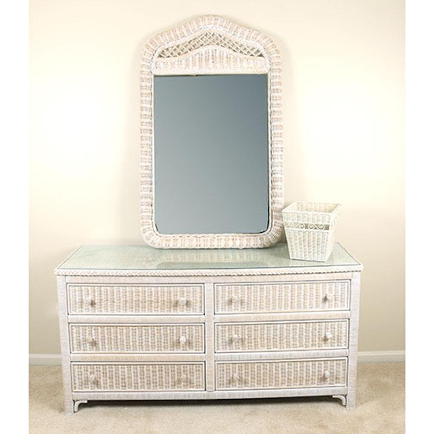 Lexington Henry Link Wicker Dresser And Mirror Ebth