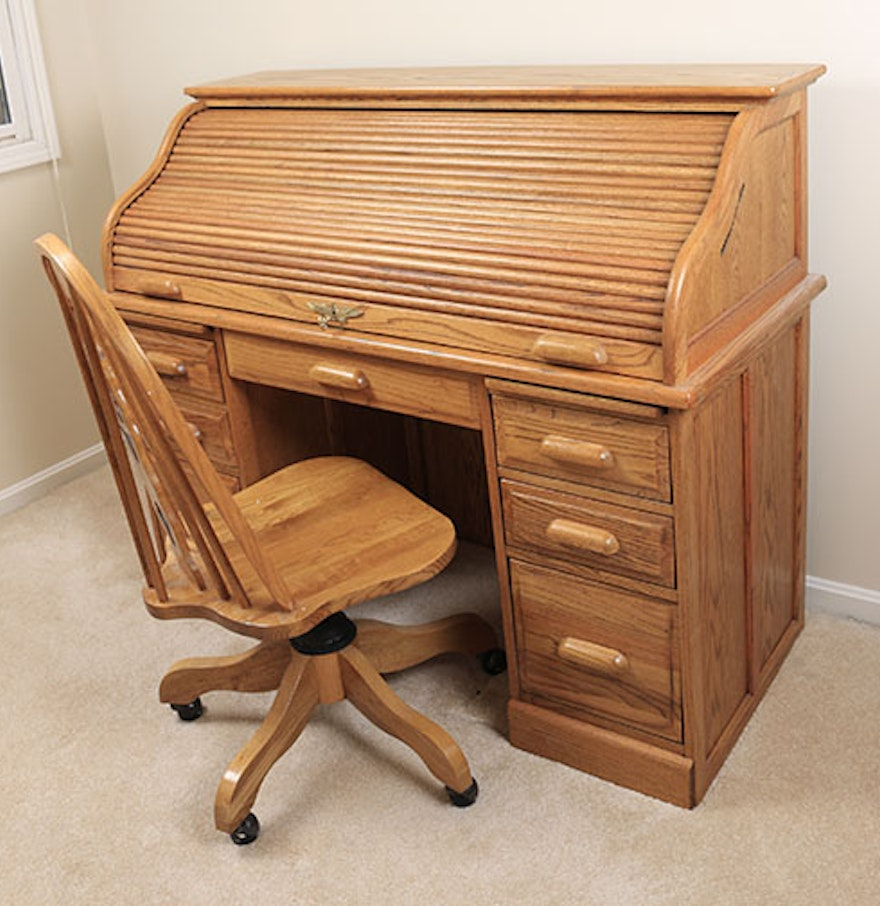 Eagle Craft Roll Top Desk And Rolling