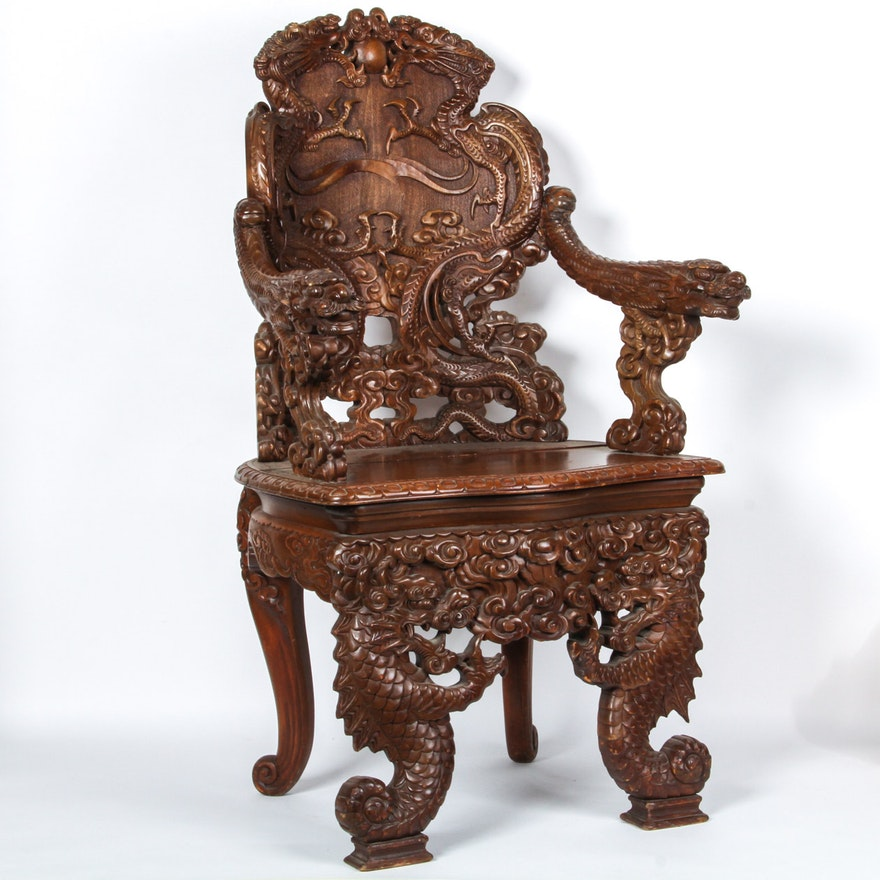 Antique Carved Chinese Chair ... - Antique Carved Chinese Chair : EBTH