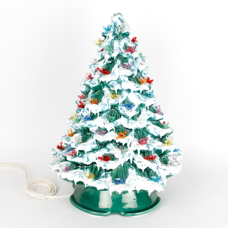Vintage Ceramic Christmas Tree Lamp With Bird Ornaments