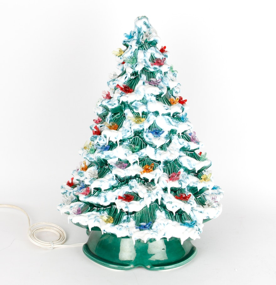 Hummel christmas tree ornaments - Vintage Ceramic Christmas Tree Lamp With Bird Ornaments
