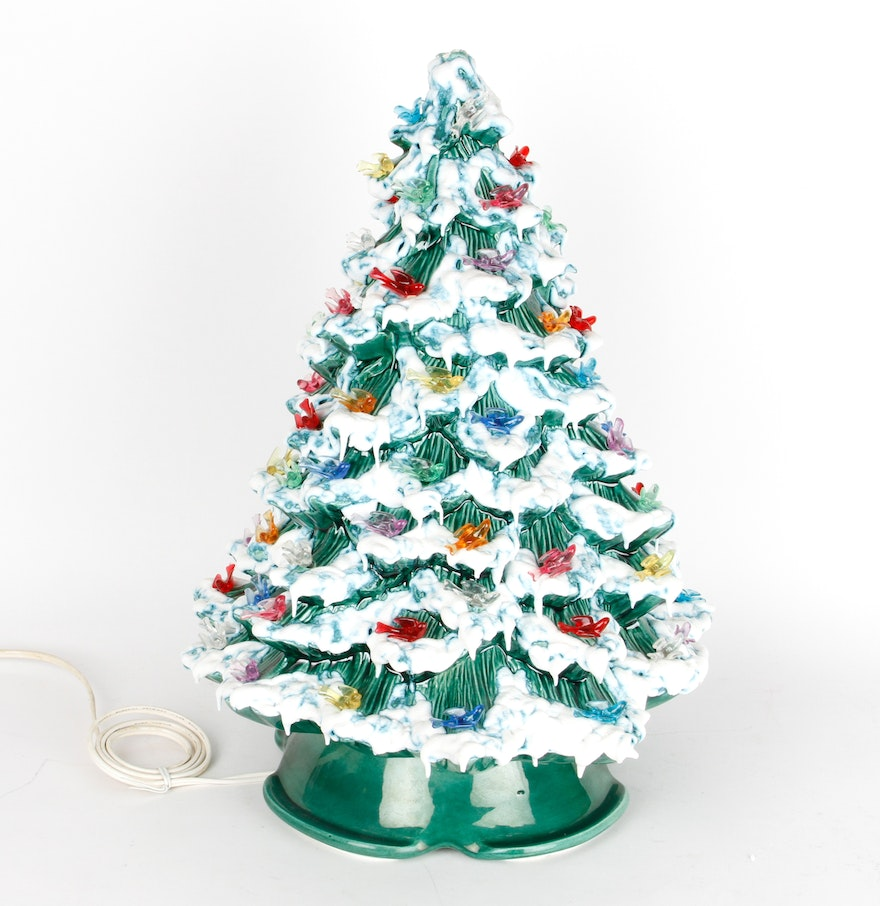 Vintage ceramic christmas tree lamp with bird ornaments ebth for Christmas tree items list