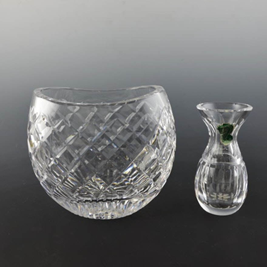 Waterford Crystal Bud Vase And Oval Vase Ebth