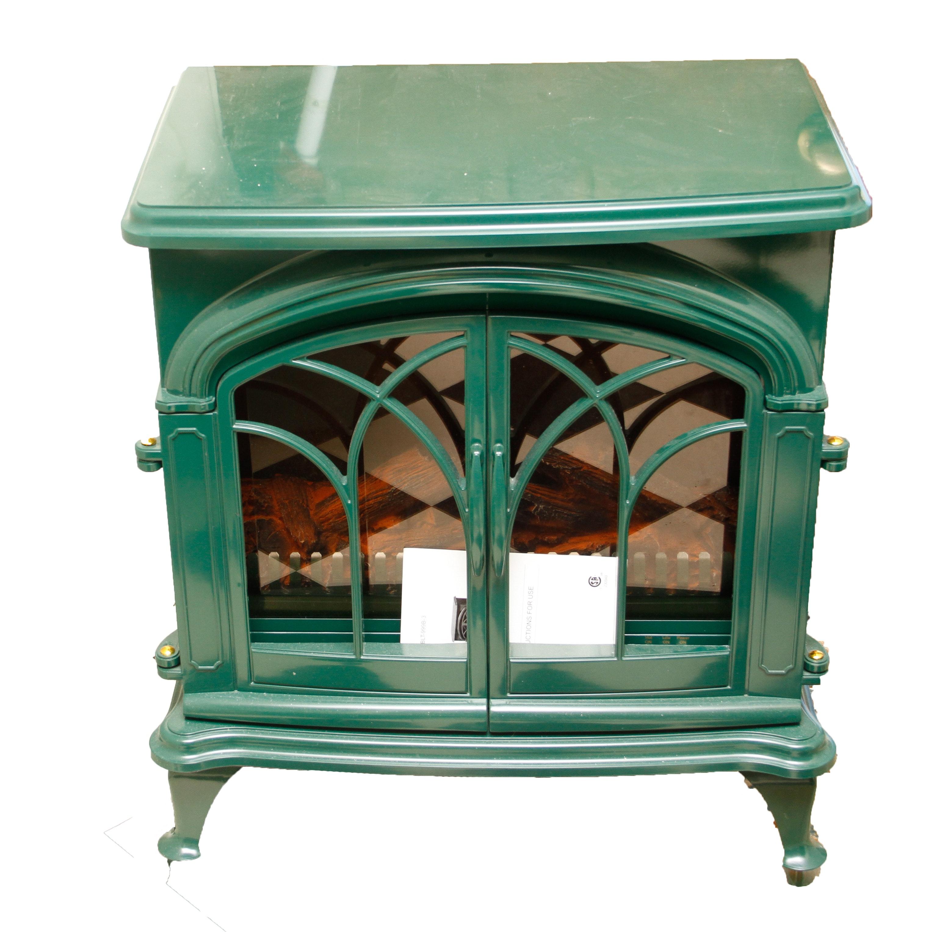 green electric fireplace ebth