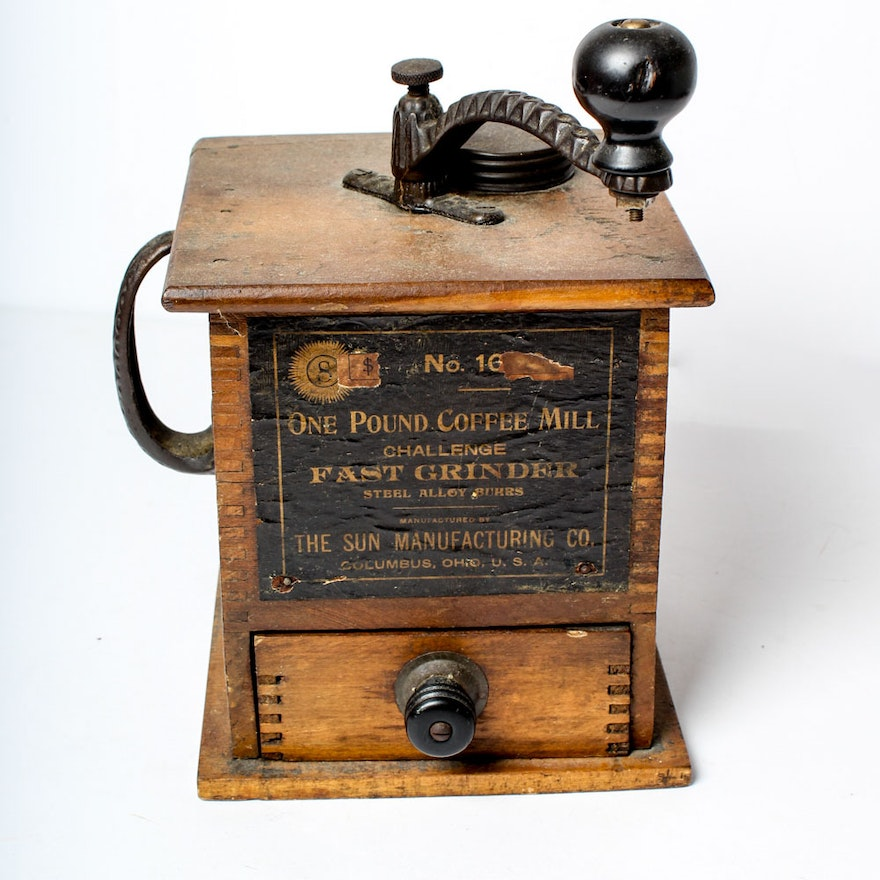 Antique Parkers National Coffee Mill Grinder Wooden Box ...  |Coffee Grinders Antique Label