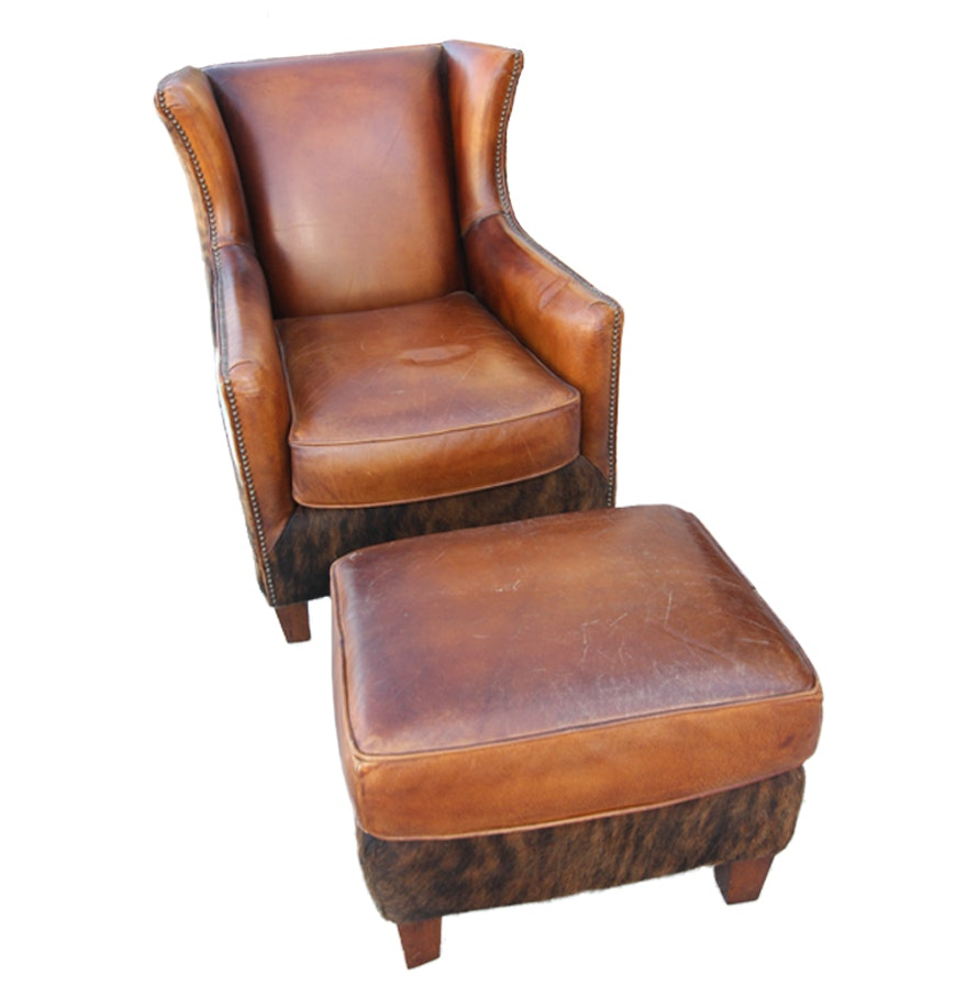 Wayne Phillips for Barcalounger Leather Cowhide Arm Chair and Ottoman ... - Wayne Phillips For Barcalounger Leather Cowhide Arm Chair And