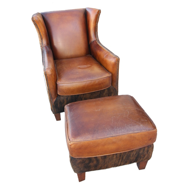 Wayne Phillips For Barcalounger Leather Cowhide Arm Chair And Ottoman ...