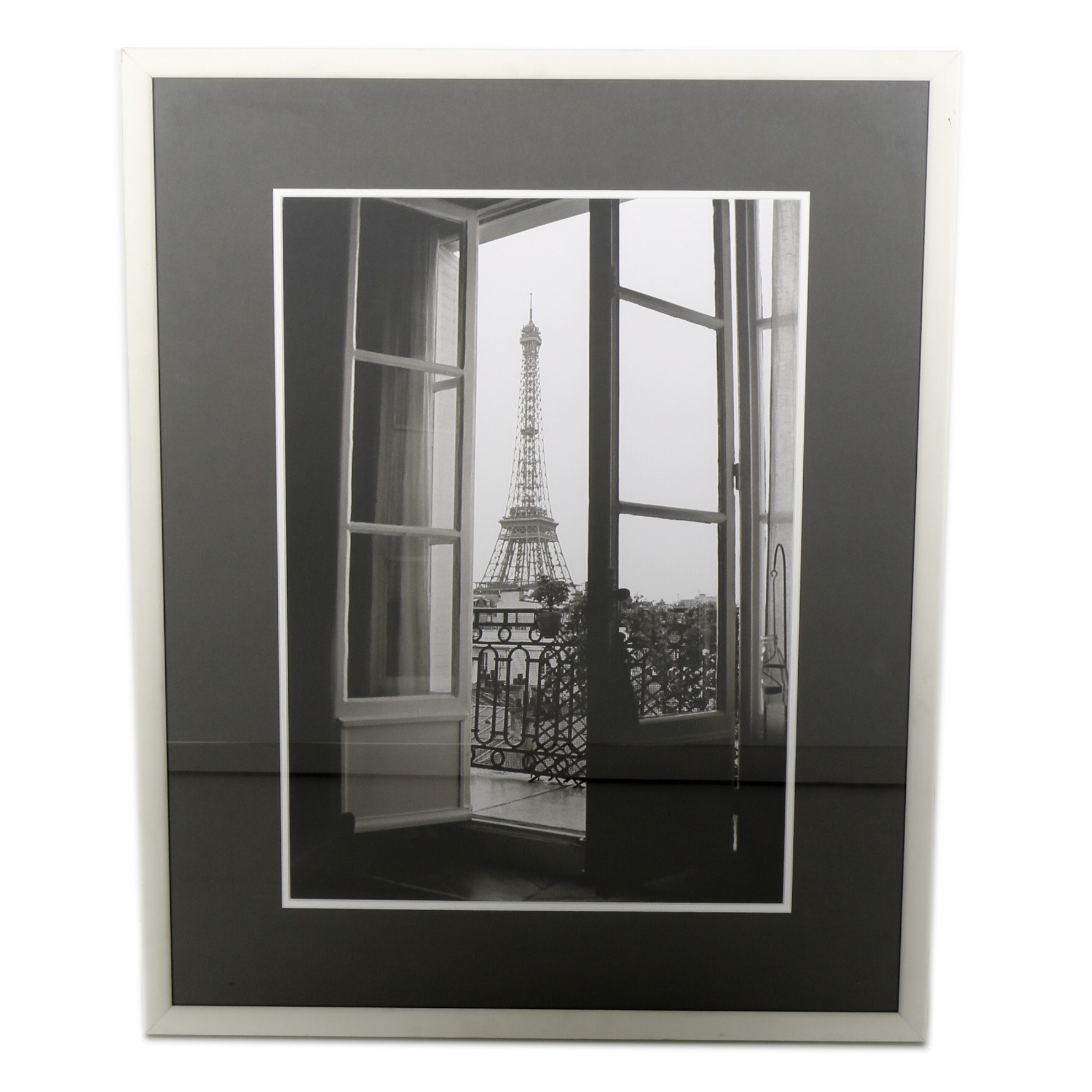 Framed Black-and-White Photo Print of Eiffel Tower