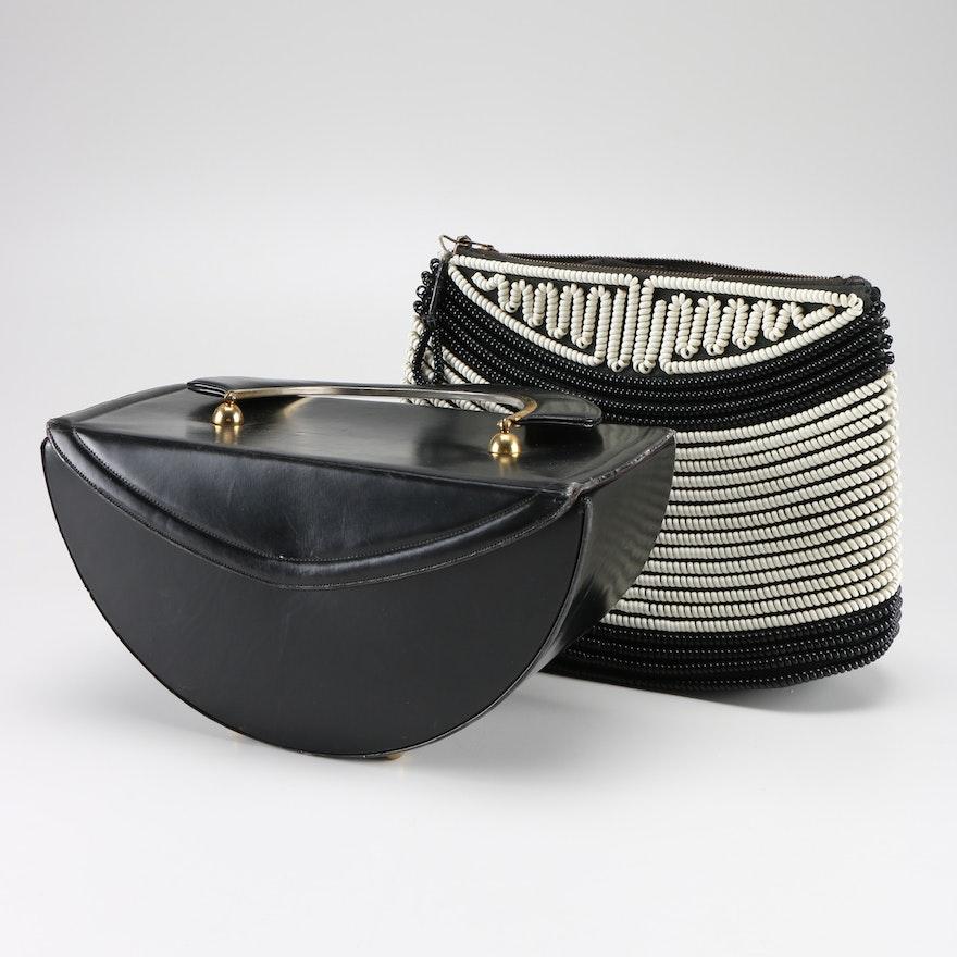 Vintage Telephone Cord Purse And Demilune Handbag