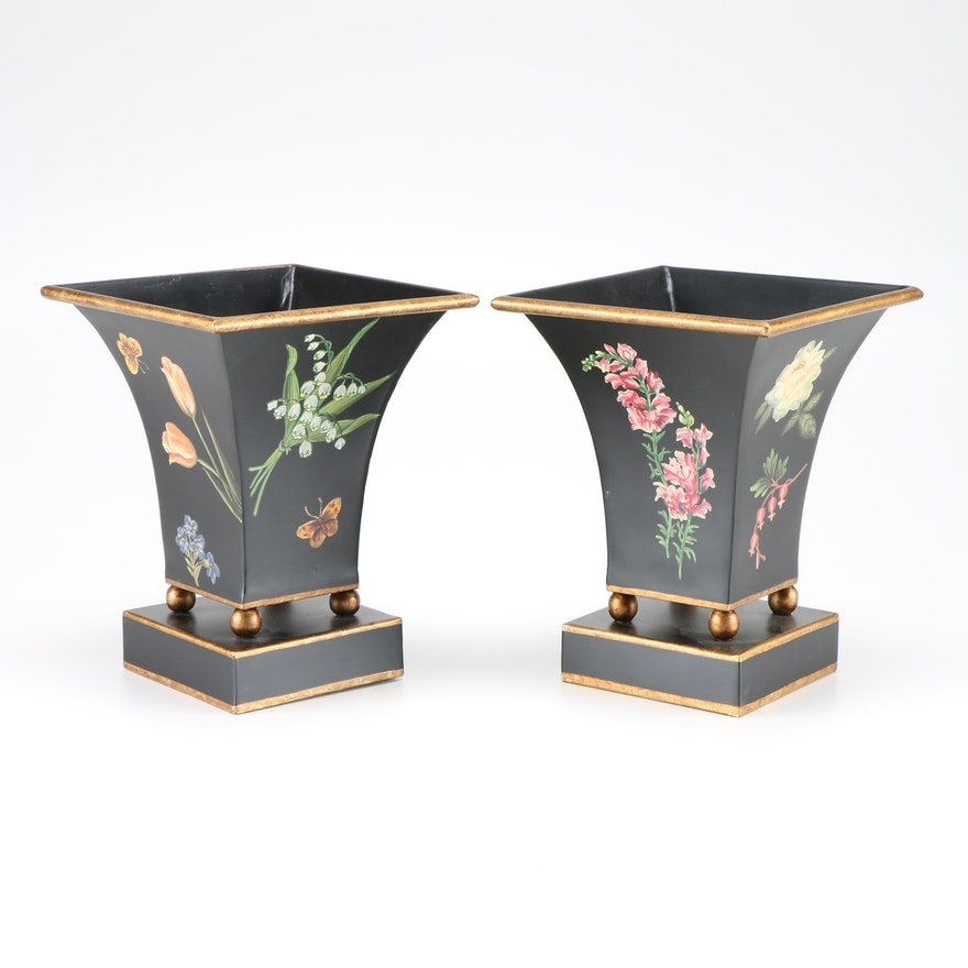 Pair Of Tin Vases Ebth