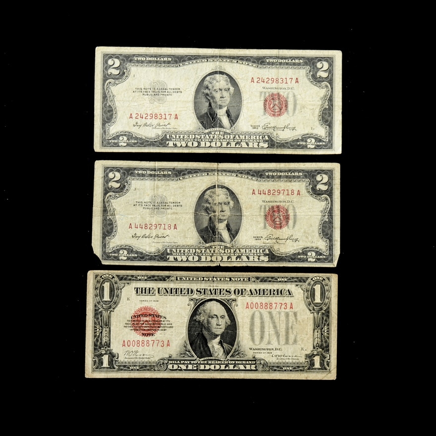 Group of U S  Currency Notes