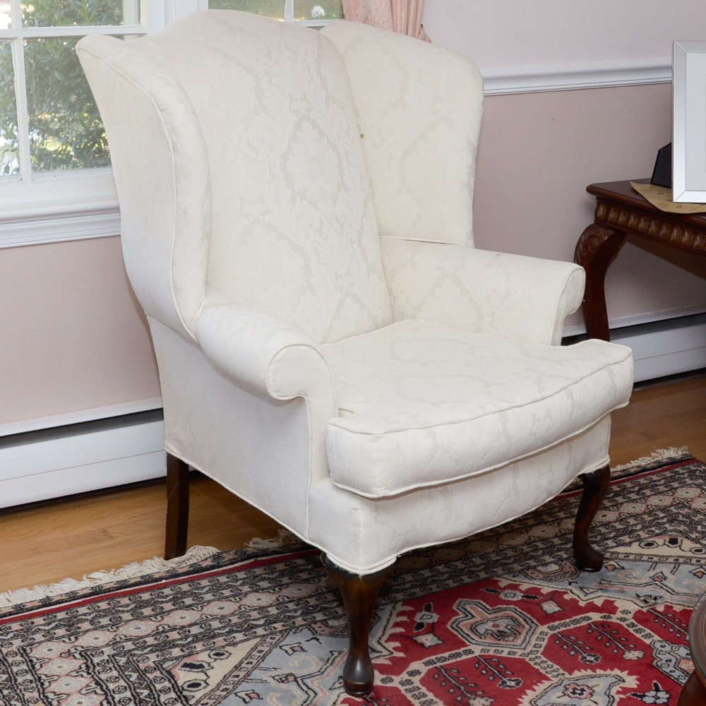 Heritage House Wingback Chair With White Damask Upholstery ...