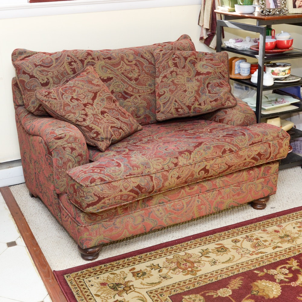 Red And Gold Paisley Upholstered Oversized Chair ...