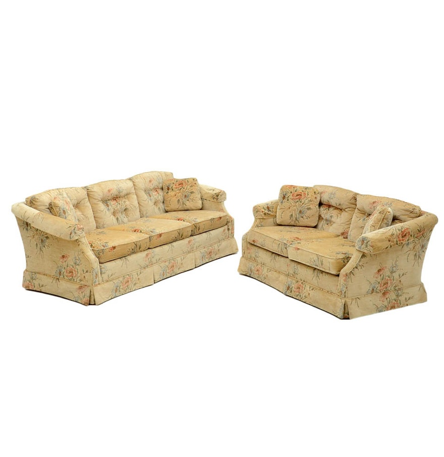 Floral Velveteen Couch And Loveseat Ebth