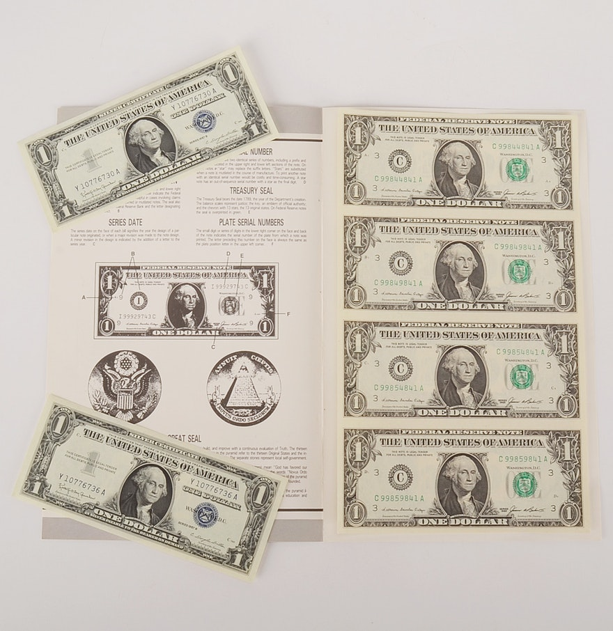 Us mint uncut one dollar bill sheet and two uncirculated 1957 us mint uncut one dollar bill sheet and two uncirculated 1957 silver certificates xflitez Images