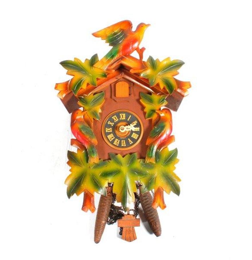 Vintage german badische uhrenfabrik wooden cuckoo clock ebth - Wooden cuckoo clocks ...