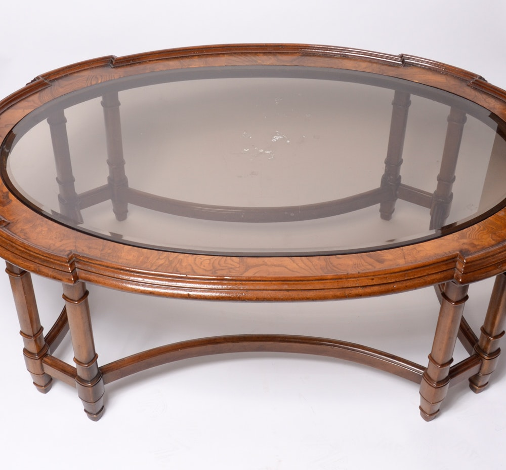 Oval Wood Coffee Table With Glass Top : EBTH