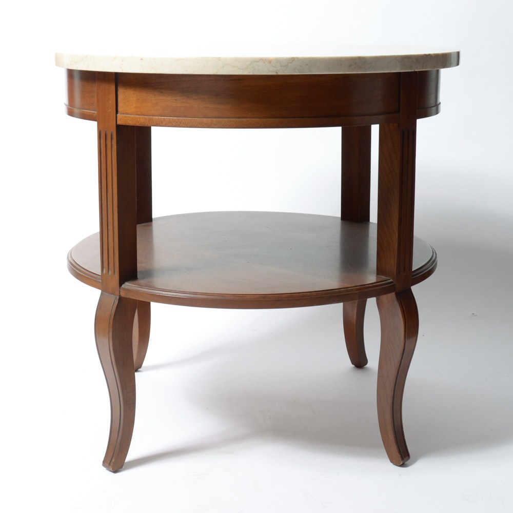 Round Accent Table With Marble Top