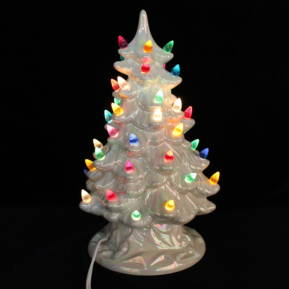 White Ceramic Christmas Tree With Colored Lights