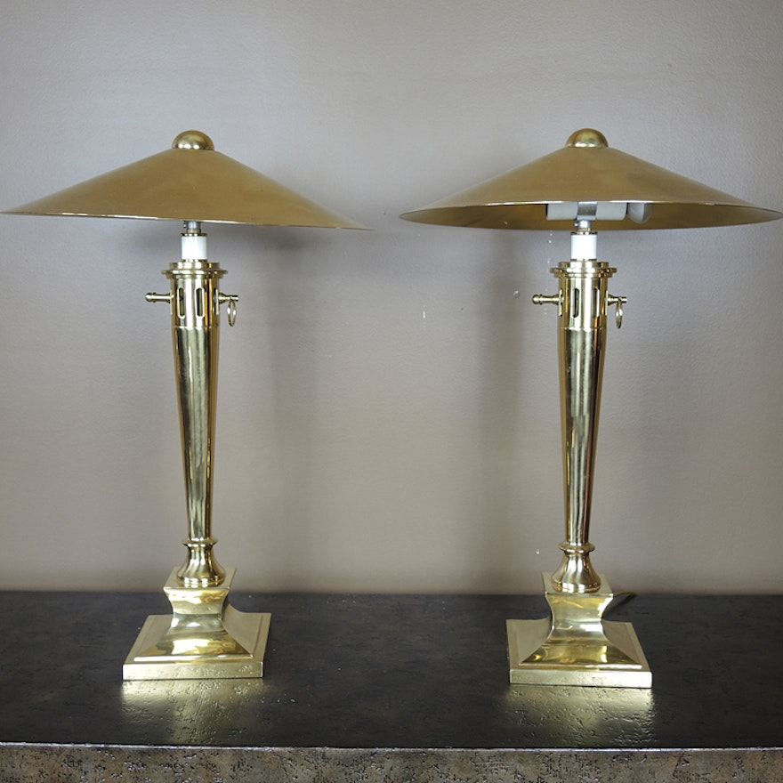 Pair of norman perry polished brass table lamps ebth pair of norman perry polished brass table lamps aloadofball Image collections