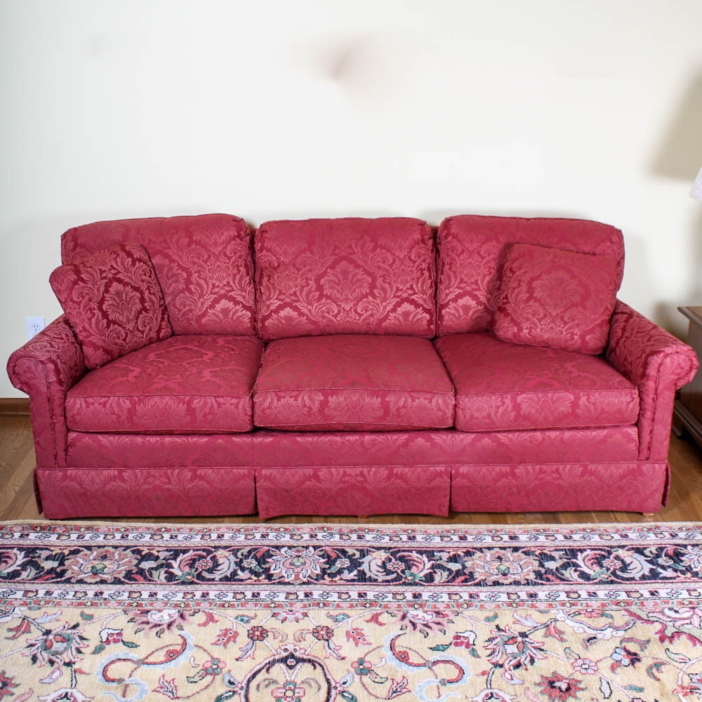 Southwood Red Brocade Sofa Ebth