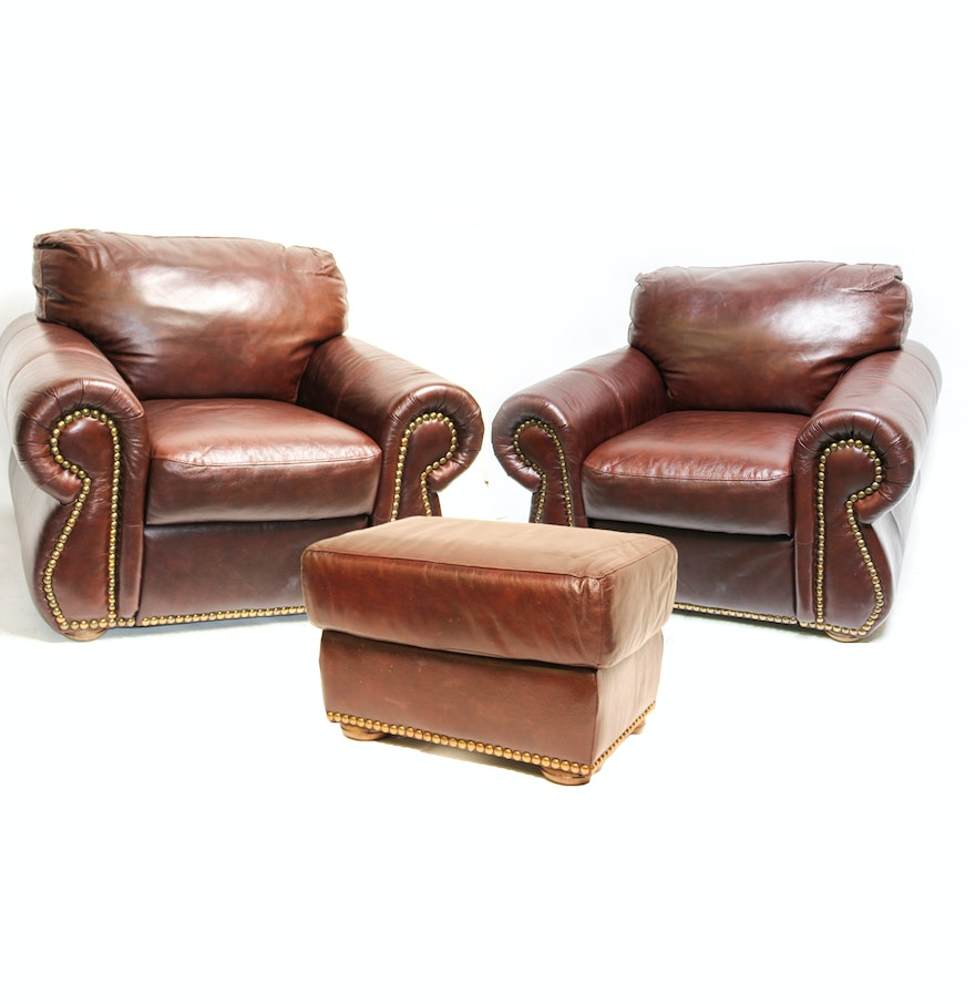 Divani chateau d ax leather sofa - Two Brown Divani Chateau D Ax Couch Chairs And An Ottoman