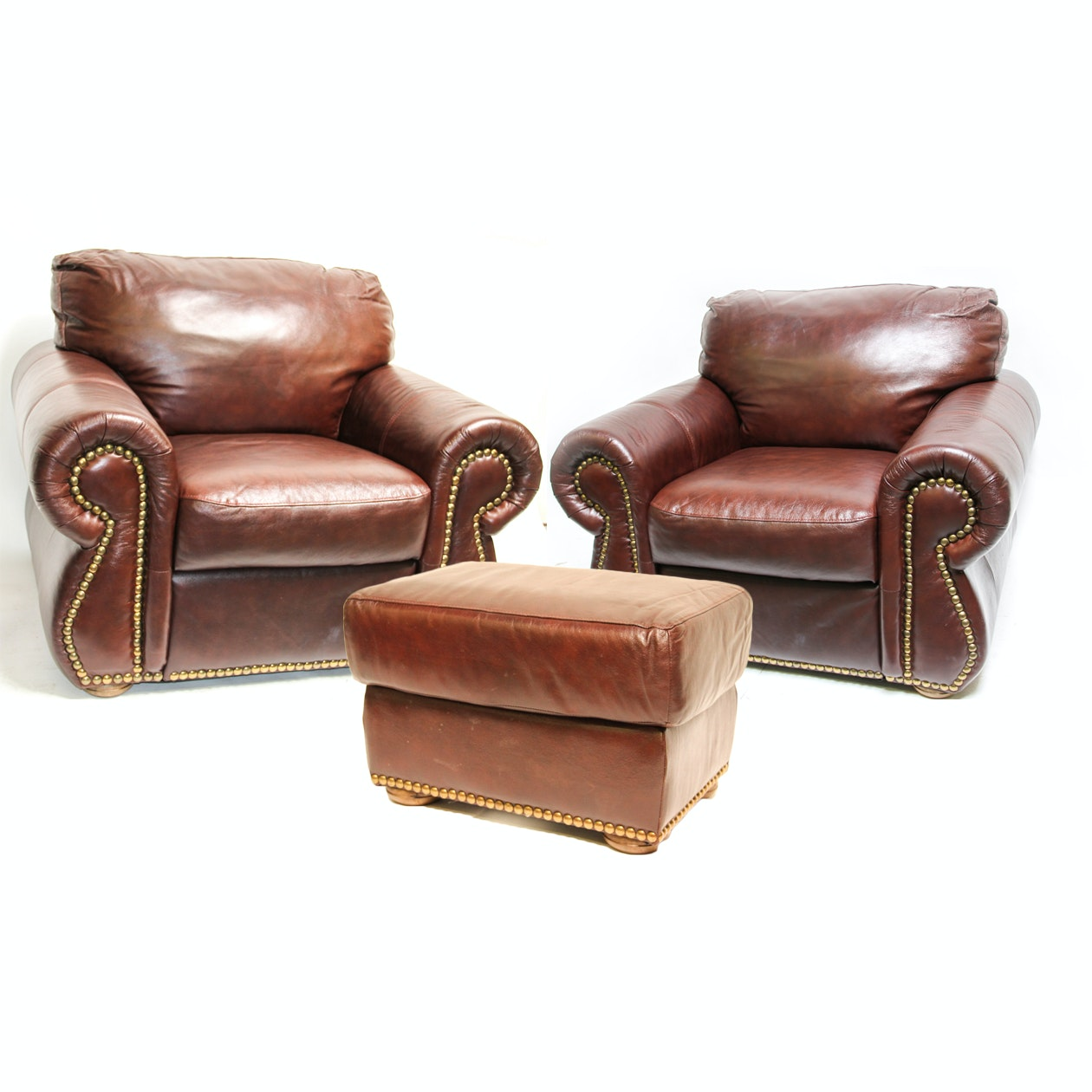 Two Brown Divani Chateau Du0027Ax Couch Chairs And An Ottoman ...