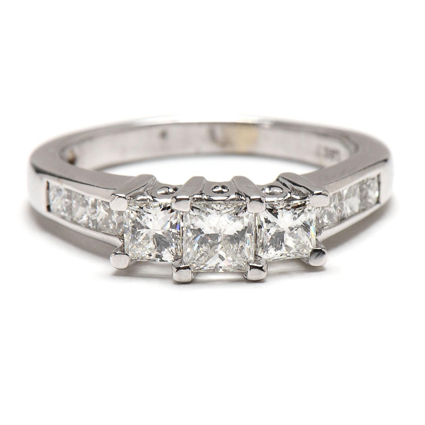 leo 14k white gold princess cut engagement