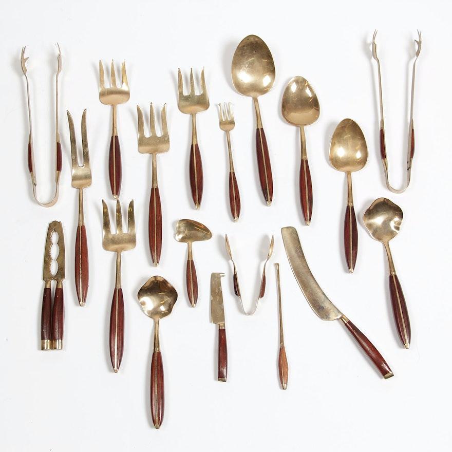 Siam Thailand Brass and Teak Flatware Serving Pieces : EBTH