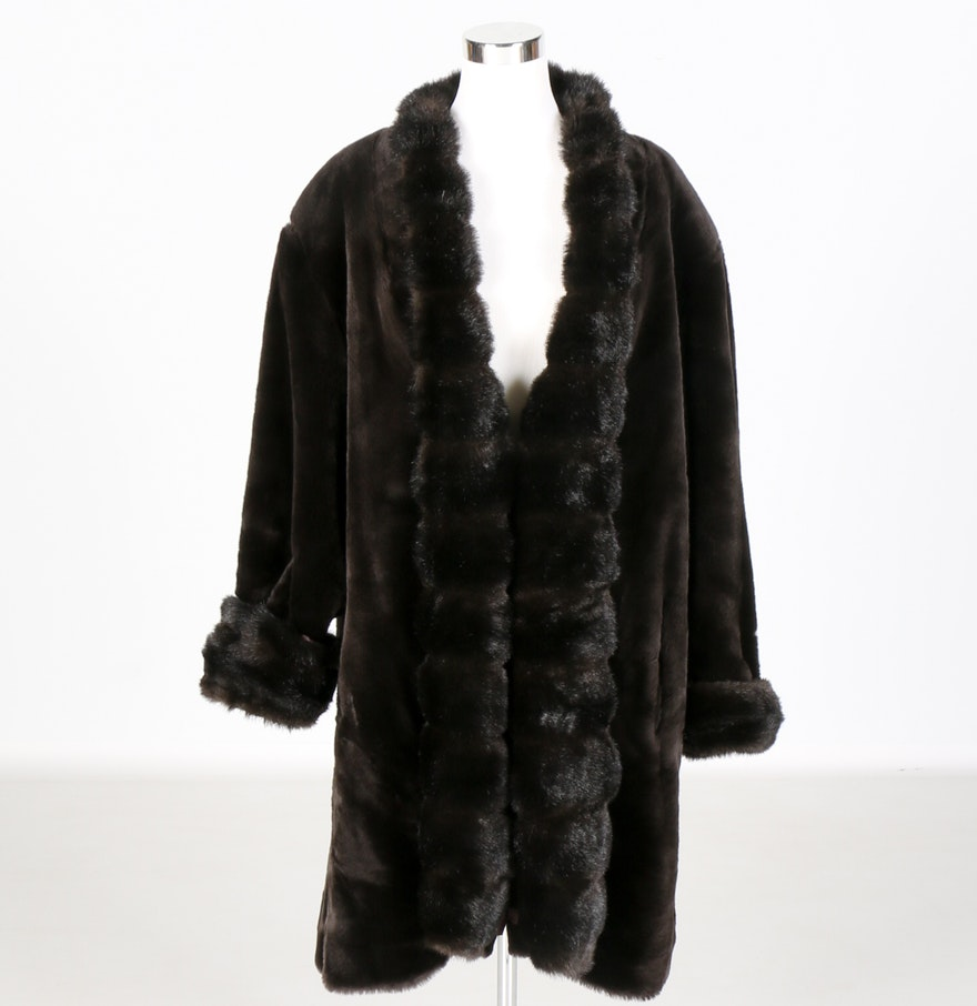 J. Percy for Marvin Richards Brown Faux Fur Coat : EBTH
