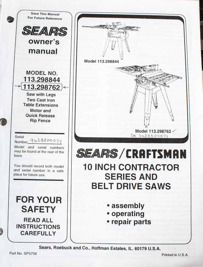 Sears Craftsman 10 Inch Belt Drive 3 HP Table Saw with