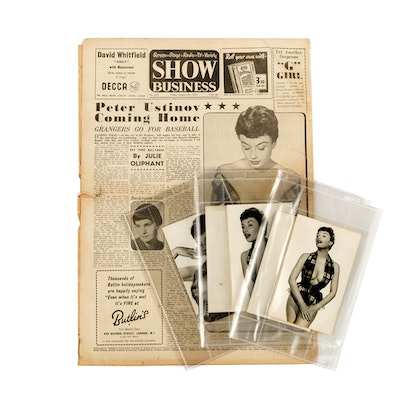 """1954 """"Show Business"""" Newspaper with Gucci Girls and Pin Up Photos"""