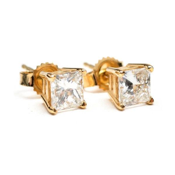 Princess Cut Diamond Earrings Yellow Gold