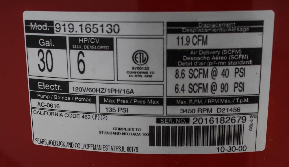 Craftsman 6 Hp 30 Gal Air Compressor Ebth