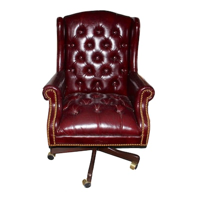 Red upholstered tufted chair ebth for Red and white upholstered chairs