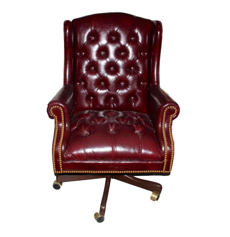 Red Leather Wingback Chair For Sale: Dark Red Tufted Wingback Office Chair : EBTH