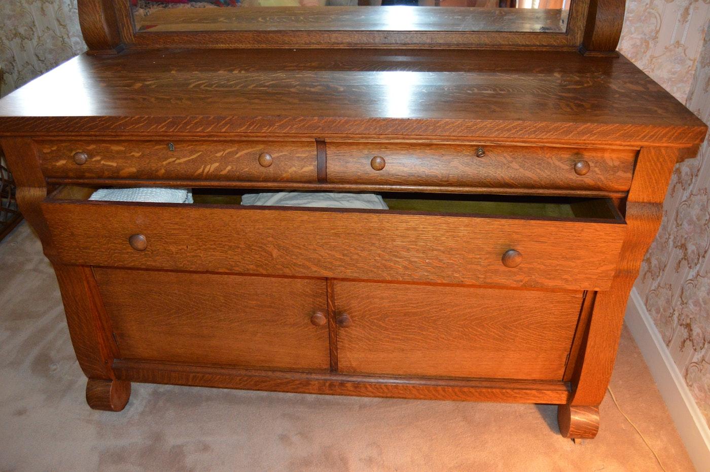 antique american empire style oak sideboard circa 1910 ebth