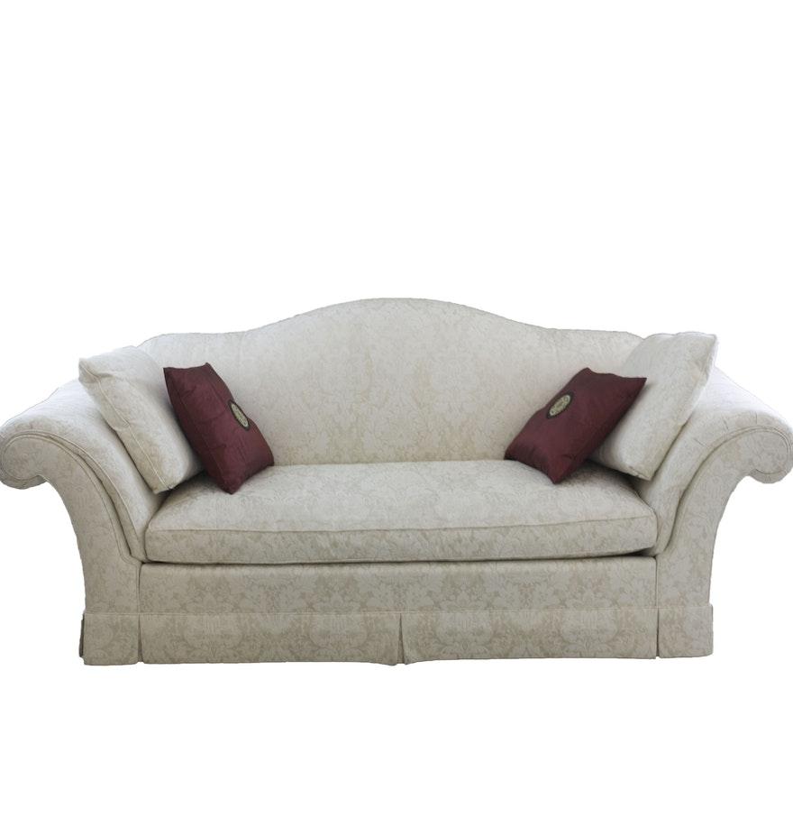 white upholstered camelback sofa by baker furniture ebth