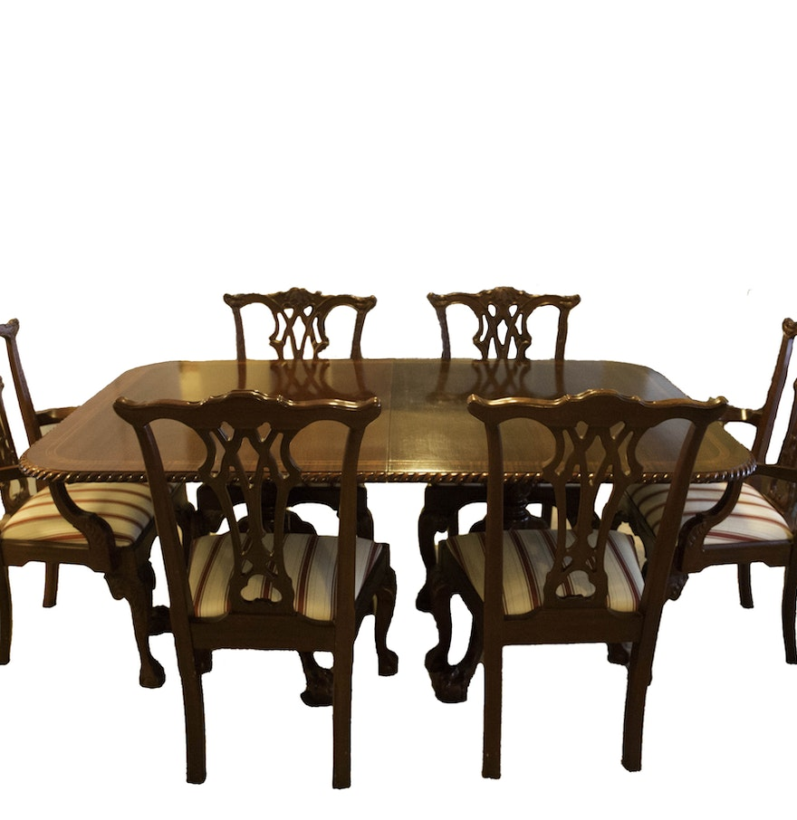 Extendable Chippendale Style Banquet Table With Matching