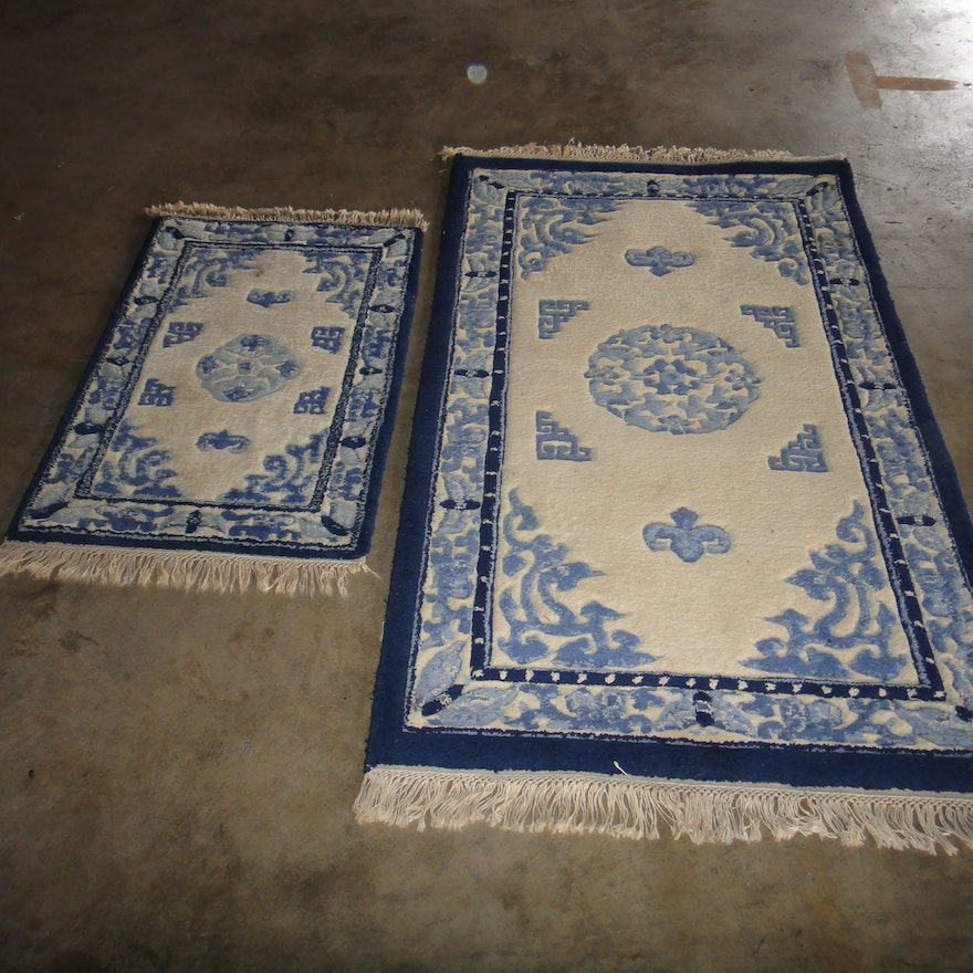 Persian Hand Woven Bakhtiari Style Wool Area Rug Ebth: Two Hand Woven Wool Chinese-Inspired Area Rugs