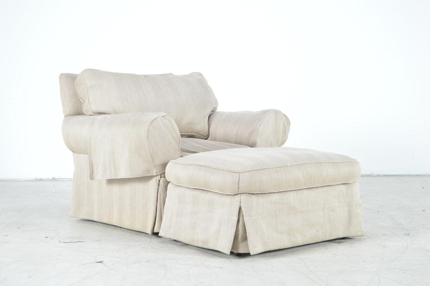 Overstuffed armchair and ottoman ebth for Overstuffed armchair