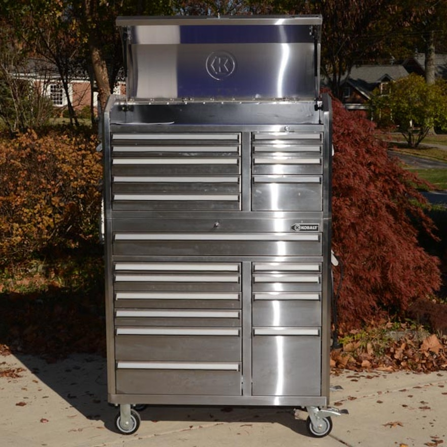 kobalt stainless steel rolling tool cart and tool chest combo : ebth