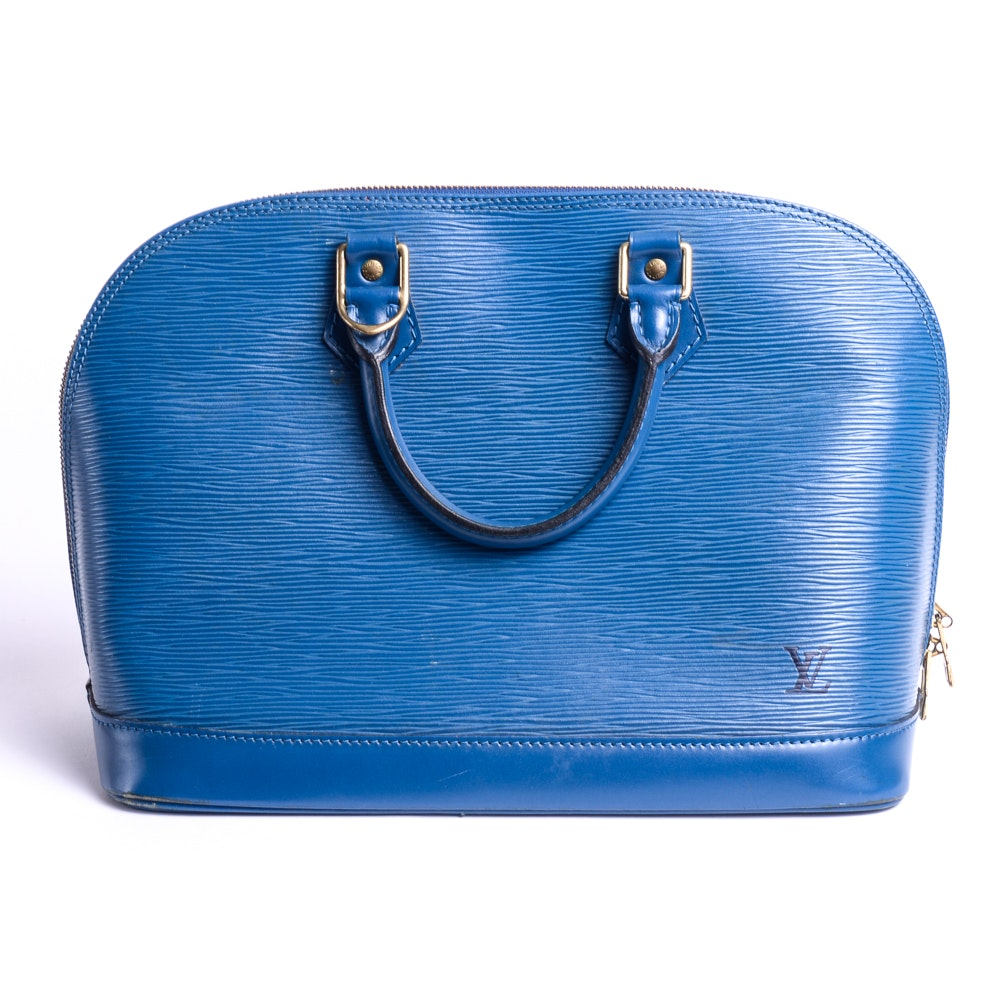 Louis Vuitton Blue Alma Epi Leather Handbag