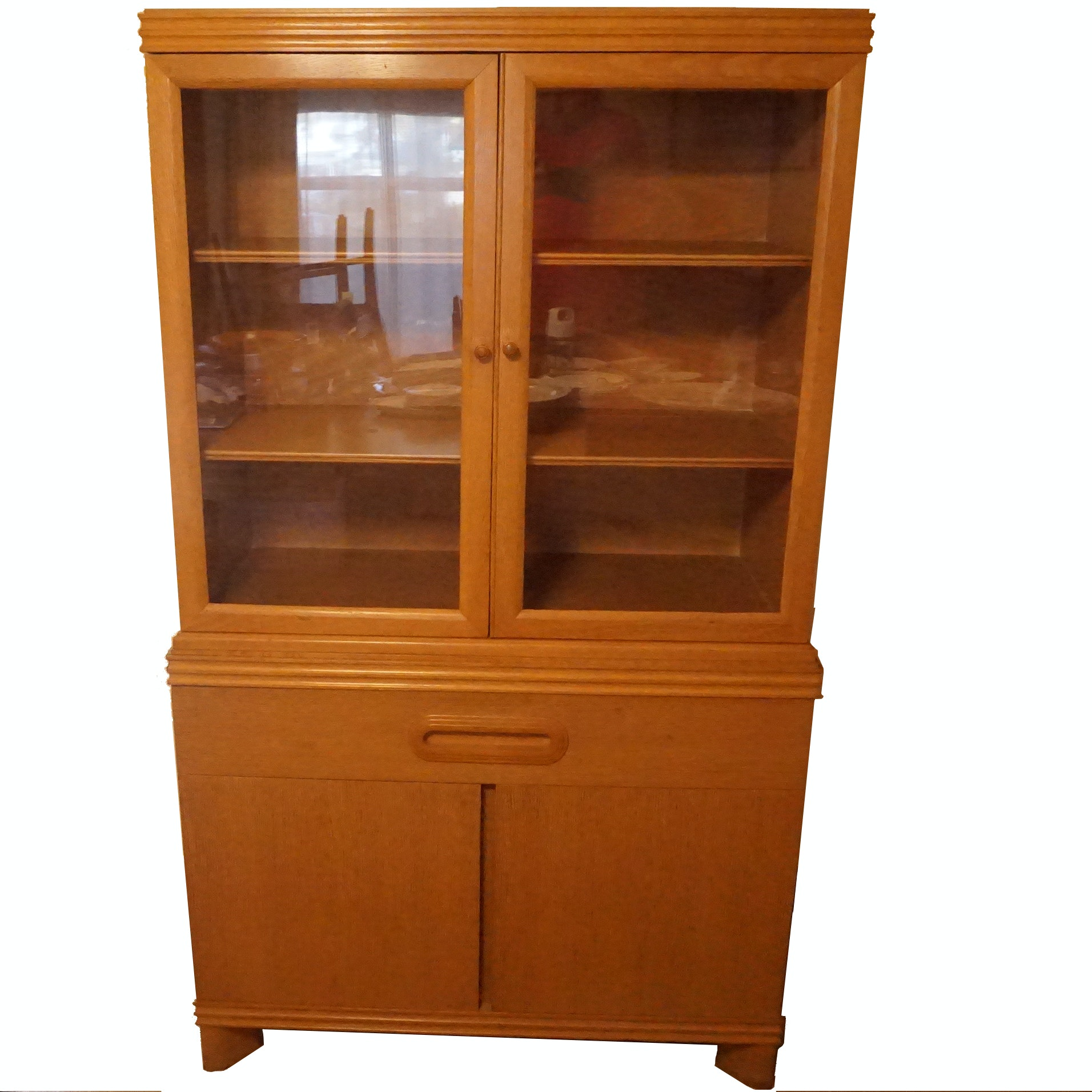 Small Pickled Oak China Cabinet